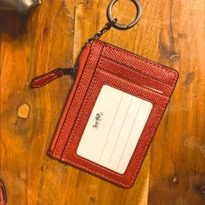 COACH CARD HOLDER WITH ZIP AND KEY RING